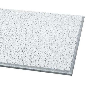 Acoustical ceiling tile is ideal in noisy environments to provide acoustical absorption and reduce reverberation of sound in a room